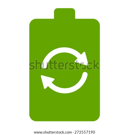 Renewable green energy battery flat icon for websites - stock vector