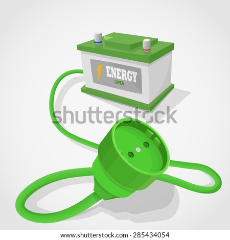 Renobable energy accumulator. Green cable and plug out of the accumulator. - stock vector