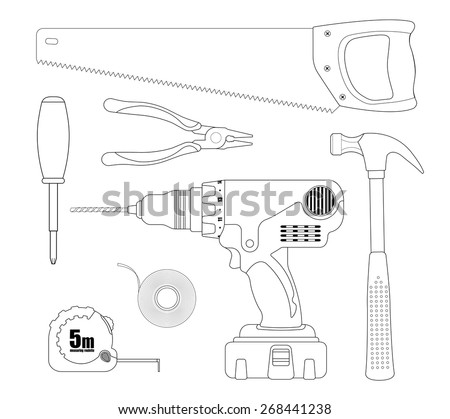 Renovation instruments set. Hacksaw, pliers, screwdriver, drill, insulating tape, measuring roulette, hammer. Vector linear illustrations isolated on white - stock vector