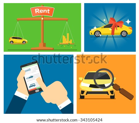 Rent a car and trading Cars in flat design web banners elements. Keys to the car on rent. Rental car infographics. Web design elements. Rent a car concept. Rent a car online app. Rental car.