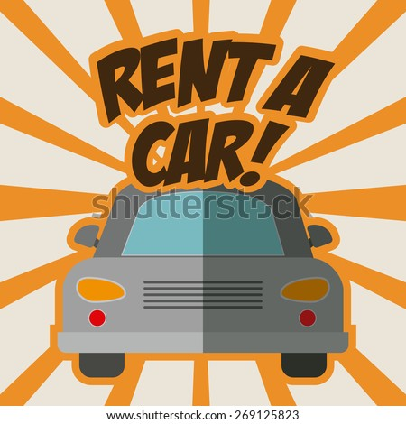 Rent a car design over striped background, vector illustration