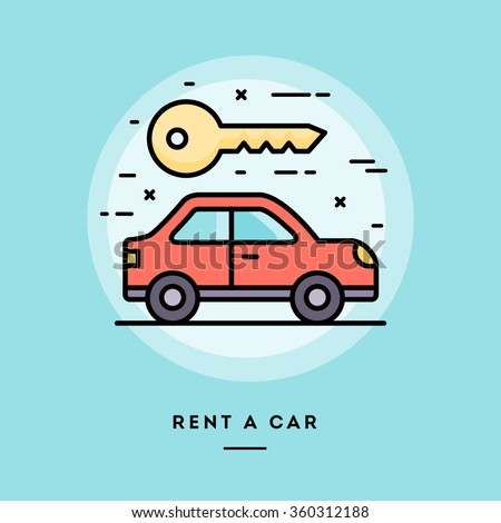 Rent a car, flat design thin line banner, usage for e-mail newsletters, web banners, headers, blog posts, print and more - stock vector