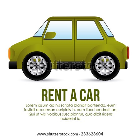 Rent a car over white background, vector illustration