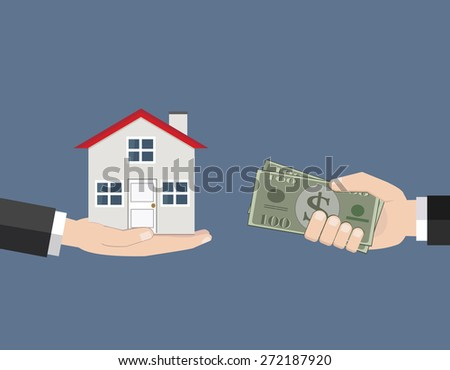 Rent a house  and House for sale / flat design / vector / illustration - stock vector