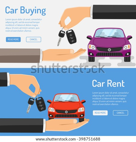 Rent and Buying Car Banner icons for Poster, Web Site, Advertising like Hand buying car icon, Car icon, key icon and hand giving car rent icon. - stock vector