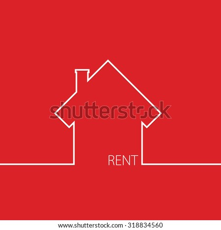 rent house in red vector illustration