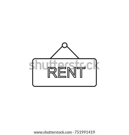Rent Sign Line Icon Real Estate Stock Vector 751991419 Shutterstock