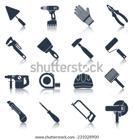 Repair and construction tools black icons set with pliers spanner drill isolated vector illustration - stock vector