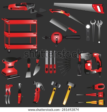 Repair and construction working tools icon set - stock vector