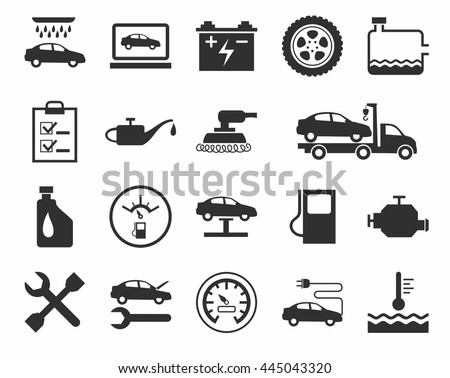 Repair and maintenance of vehicles, single-color icons. Vector flat icons. A dark gray image on a white background.