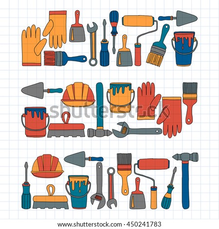 Repair and renovation tools Hand drawn vector icons