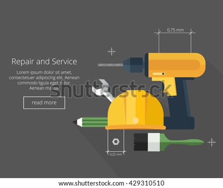 Repair and Service.Home and Mechanic renovation concept.Flat vector illustration - stock vector