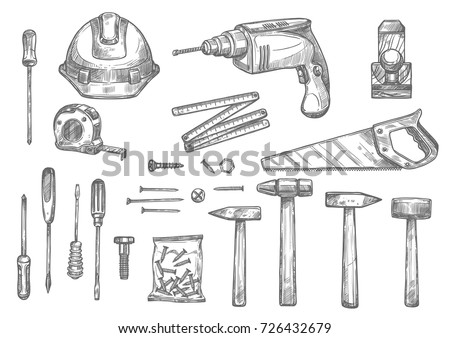 Repair Carpentry And Woodwork Work Tools Sketch Icons Set Vector Isolated Safety Helmet