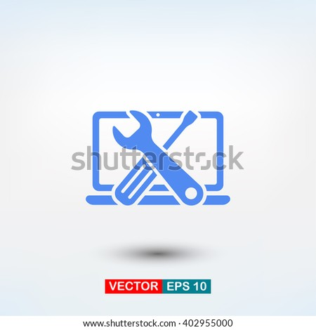 repair computer icon. One of set web icons - stock vector