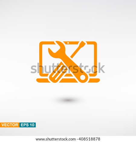 Repair computer icon vector eps 10. Orange Repair computer icon with shadow on a gray background. - stock vector
