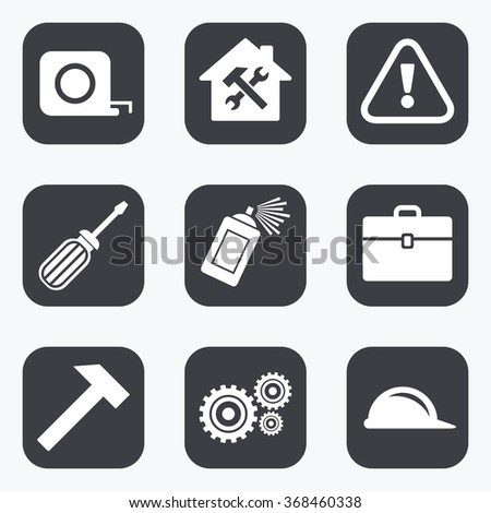 Repair, construction icons. Helmet, screwdriver and hammer signs. Gears, painting spray and attention symbols. Flat square buttons with rounded corners.