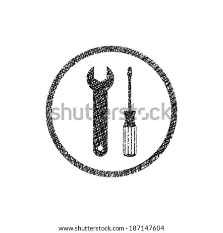 Repair icon with wrench and screwdriver, vector symbol with hand drawn lines texture. - stock vector