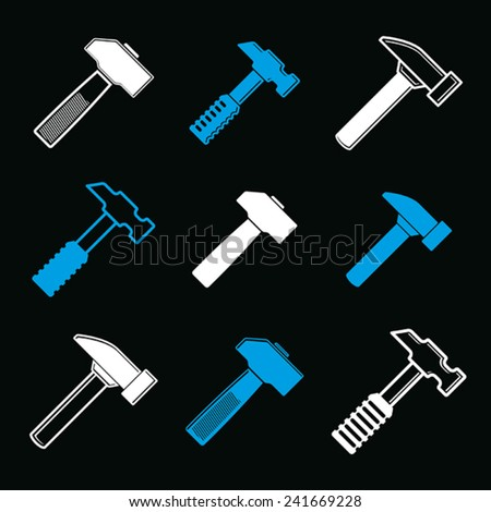 Repair instruments collection, 3d tools, mallets. Construction idea simple objects, design elements. - stock vector