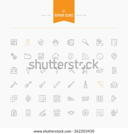 Repair, interior design, accessories and supplies icons set. Thin and line icons set, flat design, vector illustration. Line set for web and mobile. - stock vector