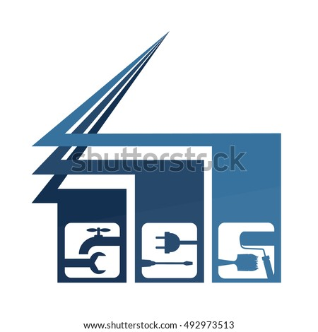 Repair of houses vector emblem for companies