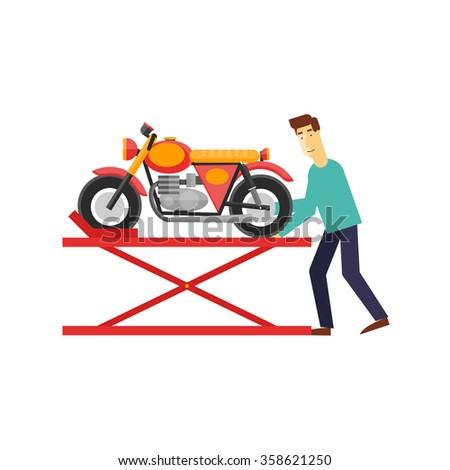 Repair of motorcycles, building motorcycles, custom motorcycles. Flat design vector illustration. - stock vector