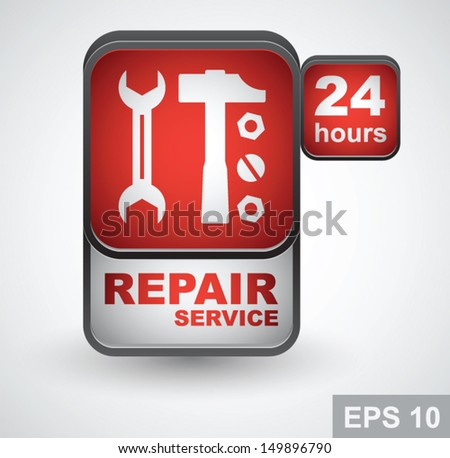 Repair service. 24 hours icon. Vector illustration - stock vector