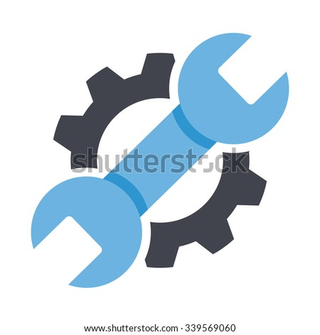 Repair service icon. Black cog and blue wrench icon concept. Repair logo. Vector Illustration. Creative graphic design logo element. Isolated on white background - stock vector