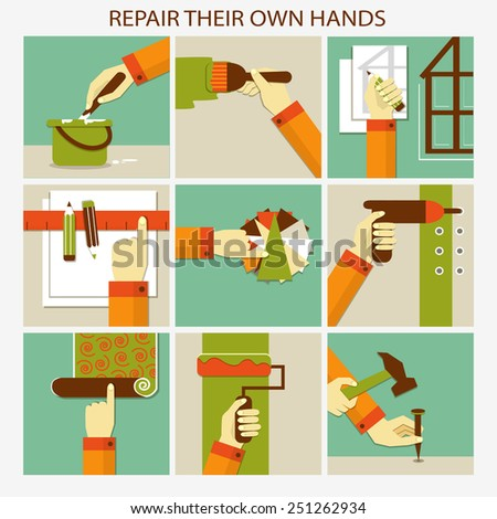 Repair their own hands. Set of home remodeling - stock vector