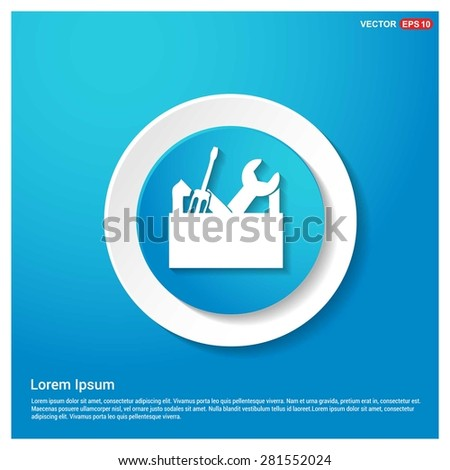 repair Toolbox with Tools icon - abstract logo type icon - abstract Blue button on white sticker shadow background. Vector illustration - stock vector