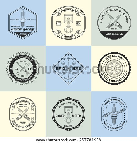 Repair workshop premium car garage service emblems set isolated vector illustration - stock vector