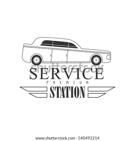 Repair Workshop Station Black And White Label Design Template With Car Silhouette