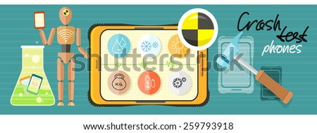 Repairing mobile phone concept. Crash test phones banner. Concept in flat design style. Can be used for web banners, marketing and promotional materials, presentation templates - stock vector