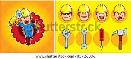 Repairman Mascot, a repairman mascot was seen running to solve problems. You can change the expression and the tool of the mascot - stock vector