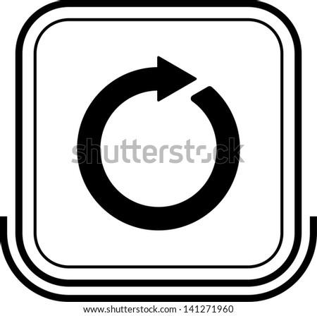 Repeat button black square - stock vector
