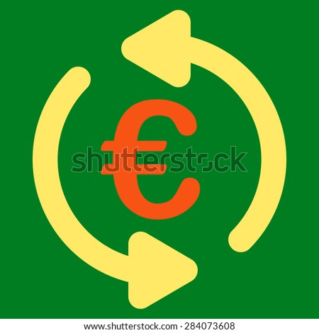 Repeat from BiColor Euro Banking Icon Set. Vector style: flat bicolor, orange and yellow symbol, rounded angles, green background.