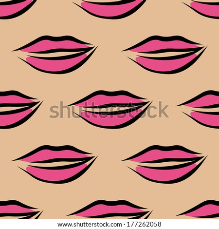 Repeat seamless pattern of sexy pink slightly parted female lips on a beige background in square format, vector cartoon illustration - stock vector