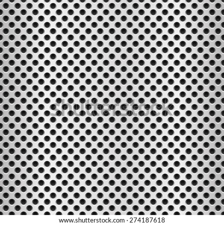 Repeatable metal pattern. Sheet of perforated, punched metal surface. - stock vector