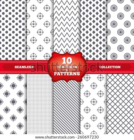 Repeatable patterns and textures. Crosshair icons. Target aim signs symbols. Weapon gun sights for shooting range. Gray dots, circles, lines on white background. Vector - stock vector