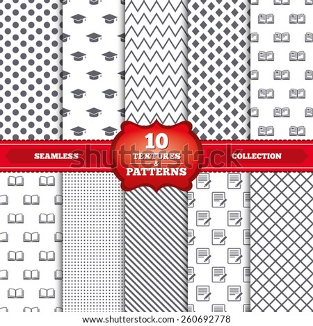 Repeatable patterns and textures. Pencil with document and open book icons. Graduation cap symbol. Higher education learn signs. Gray dots, circles, lines on white background. Vector - stock vector