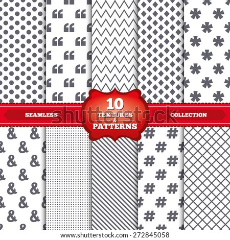Repeatable patterns and textures. Quote, asterisk footnote icons. Hashtag social media and ampersand symbols. Programming logical operator AND sign. Gray dots, circles, lines on white background. - stock vector