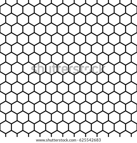 Repeated white polygons on black background. Honeycomb wallpaper. Seamless surface pattern design with regular hexagons. Grill motif. Digital paper for page fills, web designing, textile print. Vector