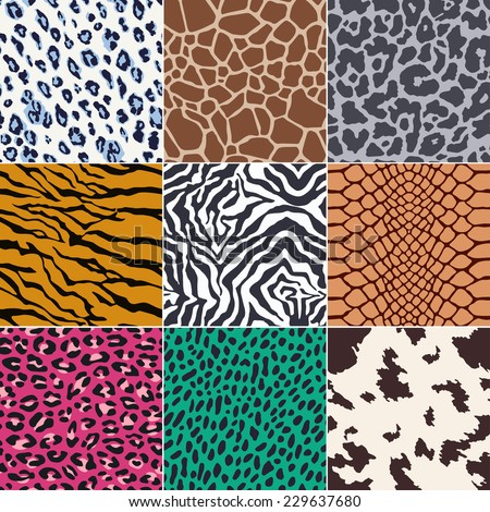 repeated wild animal skins fabric print background - stock vector