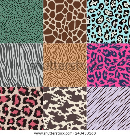 repeated wildlife animal skin texture background - stock vector