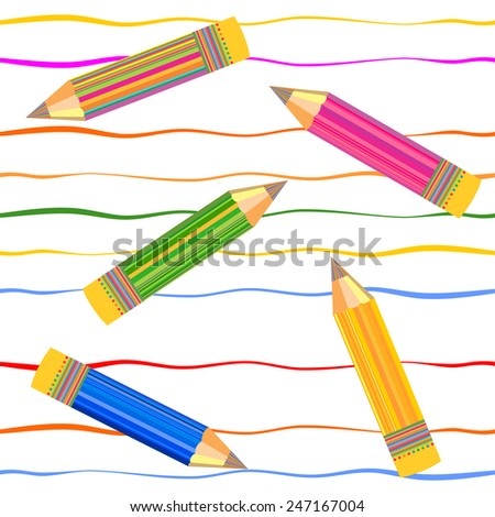 Repeating abstract background with Colorful pencils and lines. Vector seamless pattern. - stock vector