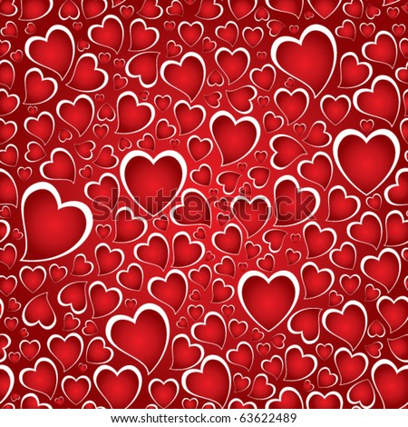 Repeating background with hand drawn child like hearts. - stock vector