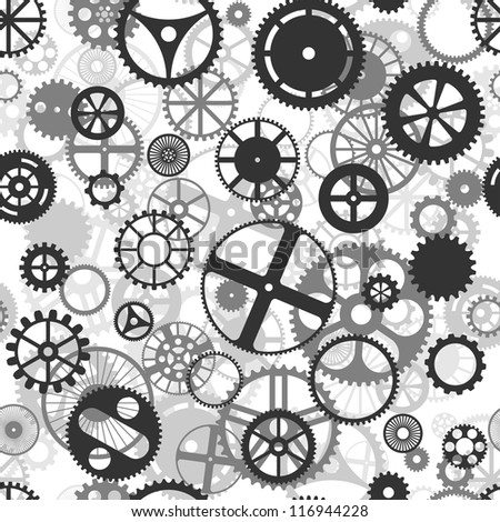 Repeating black and grey seamless gear wheels background - stock vector