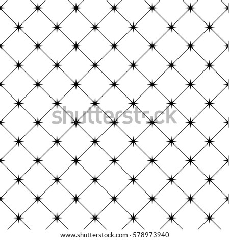 Repeating geometric tiles with stars and diagonal lines in monochrome. Modern stylish texture.