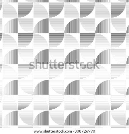 repeating linear quarter circle pattern, geometric pattern - stock vector