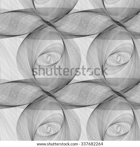 Repeating monochrome ellipse fractal pattern design background - stock vector