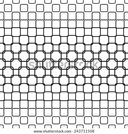 Repeating monochrome rounded square pattern design - stock vector